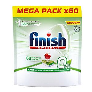 FINISH Tablettes lave vaisselle cycle long écologique Finish Powerball 0% tout en 1, 60 tablettes