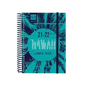 FINOCAM Hawaii Agenda escolar para secundaria día-página curso 2021-22 tamaño 8º castellano