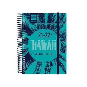 FINOCAM Hawaii Agenda escolar para secundaria día-página curso 2021-22 tamaño 8º euskera