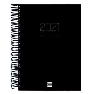 FINOCAM Opaque E10 Agenda día-página 2021, 155 x 215 mm, castellano, negro