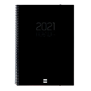 FINOCAM Opaque E40 Agenda semana-vista 2021, 210 x 297 mm, castellano, negro