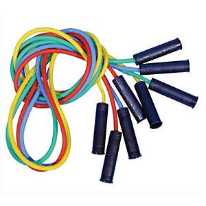 FIRST LOISIRS Lot de 4 cordes à sauter en plastique avec poignées, coloris assortis, longueur 225 cm