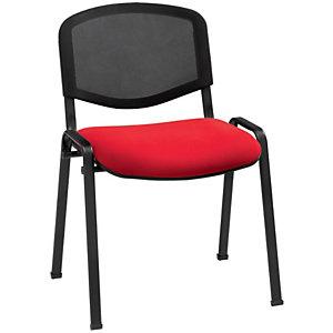First Tex Silla apilable, malla y tela, estructura metálica, rojo