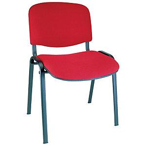 First Tex Silla apilable, tapizado, estructura metálica, rojo