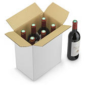 Flaschenverpackung mit Trennstegen und Automatikboden