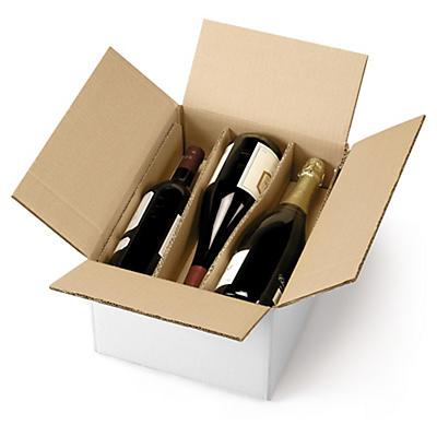 Caisse carton d'expédition pour bouteilles avec berceaux##Flaschenverpackung mit Trennstegen