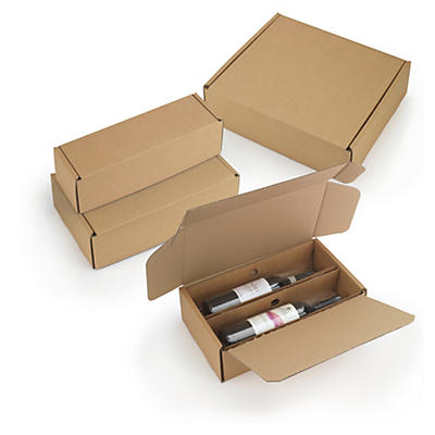 Boîte avec calage carton et film intégré##Flaschenverpackungen mit Folienfixierung