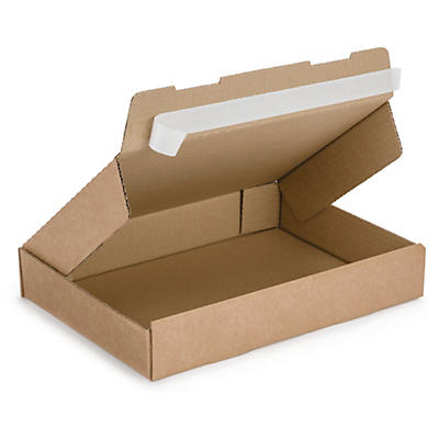 Flat brown postal boxes with an adhesive strip