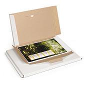 Flatpack postdoos met sluitklep, wit microgolfkarton