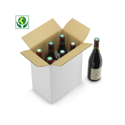 Caisse montage instantané avec croisillons intégrés##Flesverpakking met automatische bodem en geïntegreerde vakverdeling