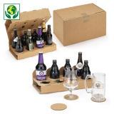 Flesverpakking met kartonnen vakverdeling voor bierflesjes