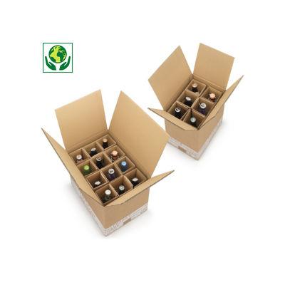 Caisse pour bouteilles 25 à 50 cl avec croisillons renforcés##Flesverpakking met versterkte vakverdeling 25 tot 50 cl