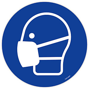 Flexibele zelfklevende bord masker dragen verplicht, 18 cm diameter