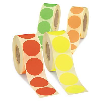 Pastille fluo en rouleau - Adhésif permanent##Fluorescerend rond etiket op rol - Permanent klevend