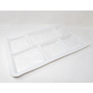 Foglietta monouso a 6 scomparti, Polistirene antiurto, 51,8 x 31,4 x 2,4 cm, Bianco (confezione 500 pezzi)