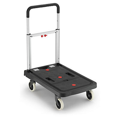 Folding plastic platform trucks