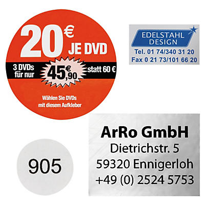 Folien-Etiketten auf Bögen, personalisiert