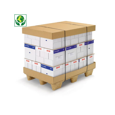 Fond - coiffe en carton pour caisse modulable##Deksel of bodem voor pallets en omdozen, enkelgolfkarton