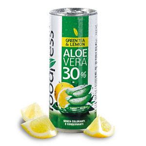 foodNess® Aloe vera da bere Tè Verde & Limone, Lattina da 250 ml (confezione 24 pezzi)