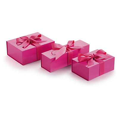 Fuchsia and silver ribbon gift boxes
