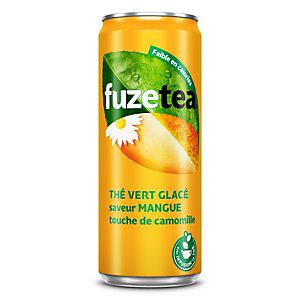 FUZE TEA Boisson au thé vert camomille, saveur mangue -canette slim de 33 cl