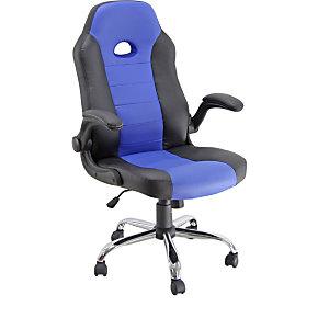 Game Sillón gaming de piel sintética, altura 104-110 cm, negro/azul
