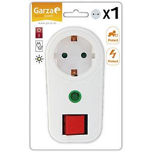 Garza Adaptador frontal con interruptor y toma de tierra, blanco