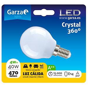 Garza Bombilla esférica estándar LED 4W casquillo E14, blanco cálido
