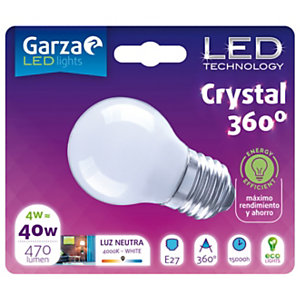 Garza Bombilla esférica estándar LED 4W casquillo E27, blanco neutro