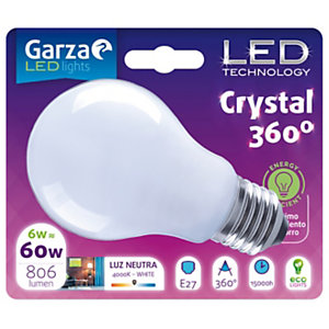 Garza Bombilla esférica estándar LED 6W casquillo E27, blanco neutro