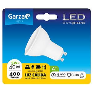 Garza Bombilla de iluminación LED, 110º, 5W, casquillo GU10, blanco cálido