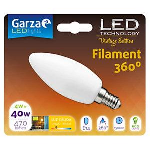 Garza Bombilla vela estándar LED 4W casquillo E14, blanco cálido