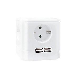 Garza Cubo alargador con interruptor, 4 tomas, 2 USB, 1,4 m, blanco