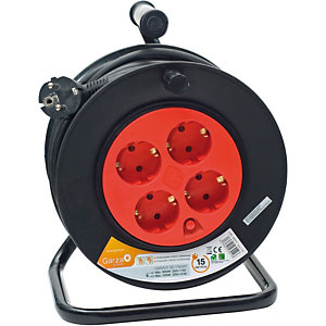 Garza Enrollacable con asa ergonómica, 15 m, 4 tomas, rojo y negro