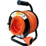 Garza Enrollacable con asa ergonómica, 25 m, 1 toma, naranja y negro
