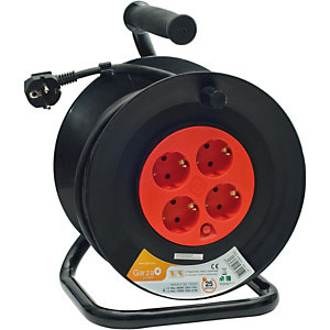 Garza Enrollacable con asa ergonómica, 25 m, 4 tomas, rojo y negro