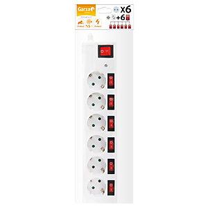 Garza Office Power Regleta con interruptores independientes, 6 tomas, 1,5 m, blanco