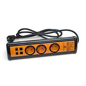 Garza Office Power Regleta múltiple con interruptor, 3 tomas, USB/RJ11/RJ45, 1,4 m, naranja y negro
