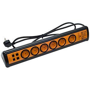 Garza Office Power Regleta múltiple con interruptor, 6 tomas, USB/RJ11/RJ45, 1,4 m, naranja y negro
