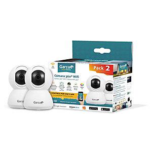 Garza SmartHome Cámara de Seguridad IP WIFI inteligente 360º, pack de 2
