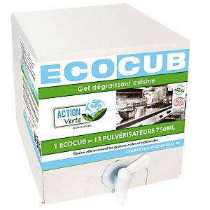 Gel dégraissant cuisine HACCP Ecocub Action Verte, boite de 10 L