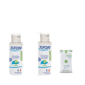 Gel hydroalcoolique désinfectant Tifon x2 flacons 100ml +  1 paquet de 60 lingettes antibactériennes et virucides EN 14476