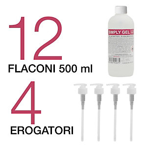 Gel Idroalcolico Antisettico mani Simply Gel, Alcool 70% (confezione 12 flaconi con 4 erogatori)
