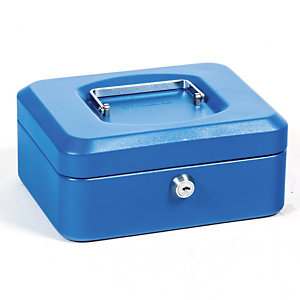 Geldkist  20 cm 3 vakken kleur blauw