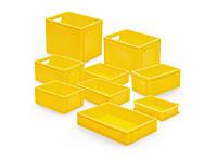 Gele euronorm stapelbak met gesloten wand