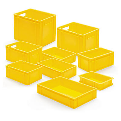 Bac gerbable jaune norme europe plein##Gele euronorm stapelbak met gesloten wand