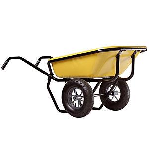 Gele kruiwagen Expert Twin Excellium 160 L met luchtbanden