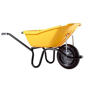 Gele kruiwagen Pick up 110 L met luchtband