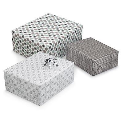 Papier cadeau Nordique blanc, argent, gris##Geschenkpapiere Nordic in Weiss, Silber, Grau