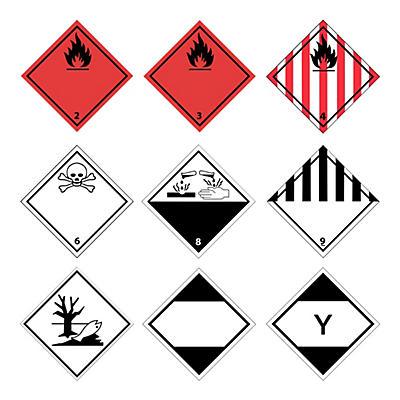 Etiquettes d'avertissement pour matières dangereuses##Gevarenetiketten voor transport van gevaarlijke producten